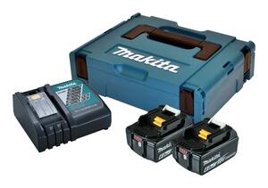 Makita BATTERIPAKKE 2xBL1860B+DC18RC 198116-4 6,0 ah batterier